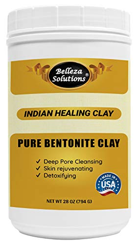 (28 OZ) Belleza Solutions Bentonite Clay (Product of USA) for Detoxifying and Rejuvenating Skin and Hair 28 OZ (794 Gram)