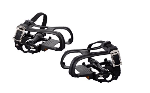 Pure Fix Bicycle Pedals with Cages and Straps, Black (Cage Bike Pedals)