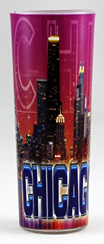 (Chicago Illinois Purple Collage Shooter Shot Glass ctm )