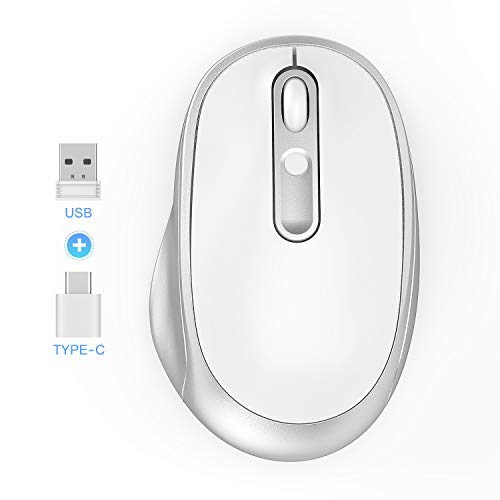 - USB & Type C Dual Mode Wireless Mouse - 2.4G Cordless Mice with USB A and USB C Receiver 2 Way Connection Optical Mouse Compatible for MacBook Pro, Chromebook and All USB & Type C Devices - White&Silv