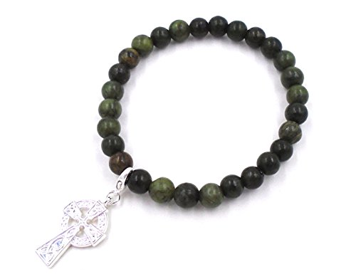 (Connemara Irish Marble Celtic Cross Beaded Stretch Bracelet)