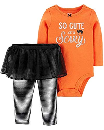 Carter's Baby Girls' 2-Piece Halloween Bodysuit and Tutu Pant Set (Orange/Black, 9 Months)