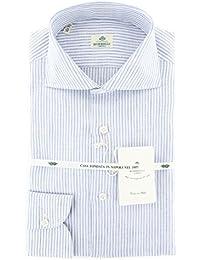 New Borrelli Light Blue Striped Extra Slim Shirt