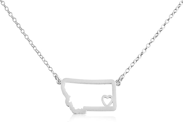 Azaggi Gold Plated Sterling Silver Handcrafted Home is Where The Heart is Alaska State Pendant Necklace 18