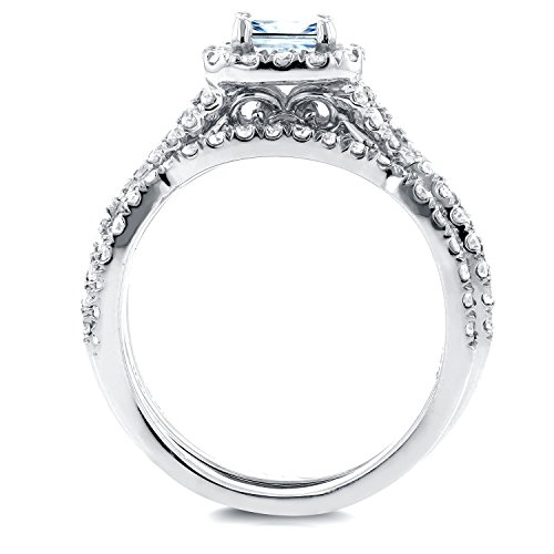 Princesse Diamant tressé de mariage de Lot de 11/5CT en or blanc 14K _ 5.0