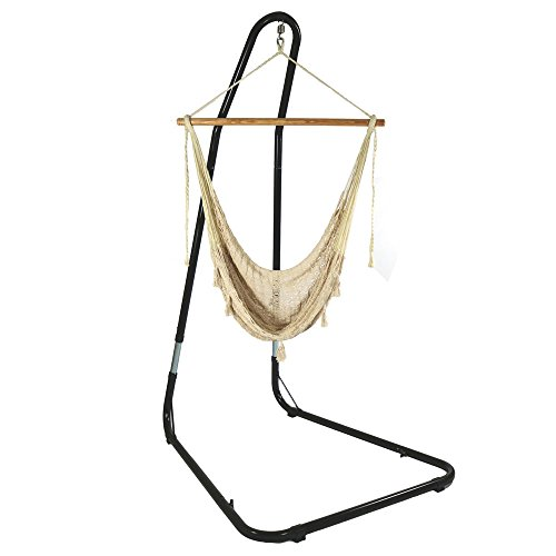 Large Mayan Hammock (Sunnydaze Large Mayan Hammock Chair with Adjustable Stand, Comfortable Hanging Swing Seat Cotton/Nylon Rope, Lightweight, Includes Wood Bar, Indoor/Outdoor Use, Max Weight: 220 Pounds, Natural)