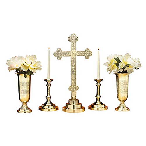 5 Piece Filigree Brass Altar Set - Includes 23