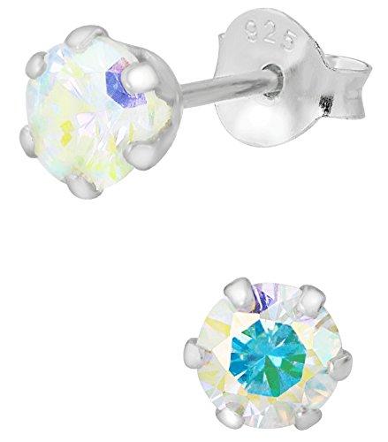 Hypoallergenic Sterling Silver Round Aurora Borealis Crystal Stud Earrings for Kids (Nickel Free)