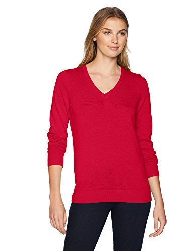 Red Pullover Sweater - Amazon Essentials Women's Standard V-Neck Sweater, red, Medium