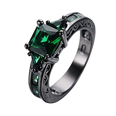 Bamos® Womens Fashion Green Emerald Four Claws And Square Diamond Black Gold Engagement Rings Size 6-10