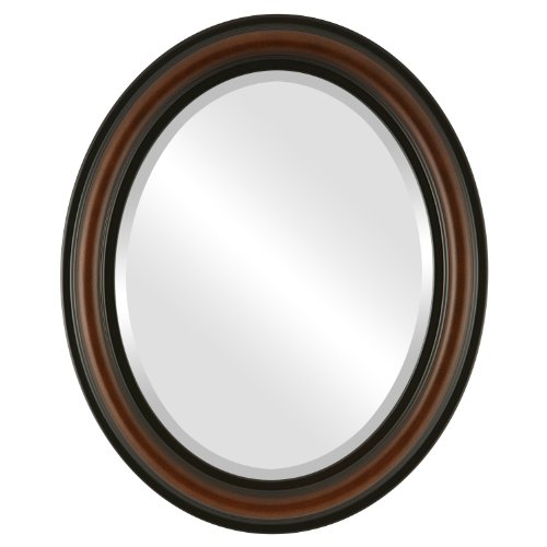 Oval Beveled Wall Mirror for Home Decor - Philadelphia Style - Walnut - 24x34 outside dimensions