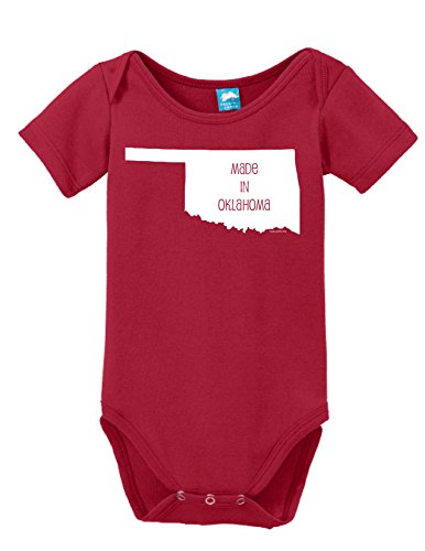 Oklahoma Sooners Child Uniform (Made In Oklahoma Printed Infant Bodysuit Baby Romper Red 0-3 Month)