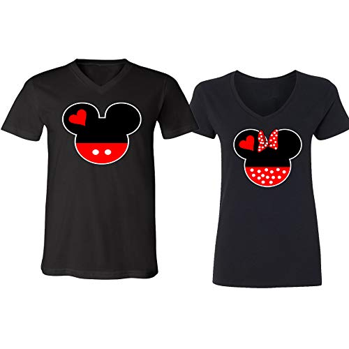 Mickey Minnie Mouse Head Family Couple V-Neck Shirt for Men Women(Black-Black,Men-M/Women-XL) -