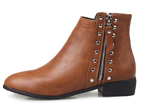 Aisun Women's Stylish Comfy Studded Side Zipper Low Heels Round Toe Ankle Booties Shoes