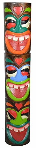 WorldBazzar HAND CARVED BEAUTIFUL THREE FACE TIKI TOTEM POLE STATUE 20 inches (Tiki Stand)