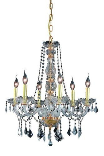 (Elegant Lighting 7856D24G/RC Verona 28-Inch High 6-Light Chandelier, Gold Finish with Crystal (Clear) Royal Cut RC)