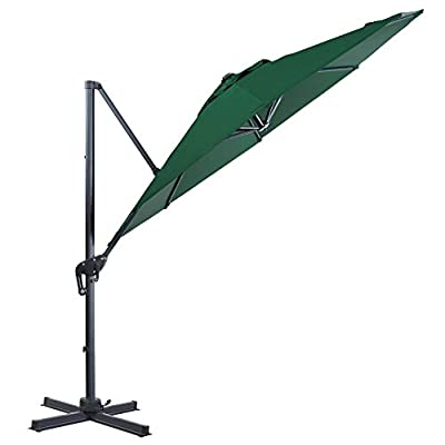 FurniTure Hanging Umbrella 10' Patio Umbrella Outdoor Cantilever Umbrella 360 Rotation Garden Umbrella 8 Steels Ribs Polyester Cross Base, Hunter Green - NEW RELEASE: Hanging umbrella with four lock position on the pole for you to easily adjust your umbrella angle. NEW DESIGN: Cantilever umbrella with 360 degree rotation by step on the foot pedal. DURABLE FRAME: 10 ft patio umbrella is built with stainless steel against rust, corrosion, chipping and peeling. - shades-parasols, patio-furniture, patio - 41yZX 3%2BPGL. SS400  -