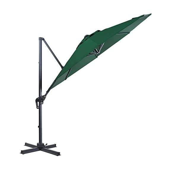 FurniTure Hanging Umbrella 10' Patio Umbrella Outdoor Cantilever Umbrella 360 Rotation Garden Umbrella 8 Steels Ribs Polyester Cross Base, Hunter Green - NEW RELEASE: Hanging umbrella with four lock position on the pole for you to easily adjust your umbrella angle. NEW DESIGN: Cantilever umbrella with 360 degree rotation by step on the foot pedal. DURABLE FRAME: 10 ft patio umbrella is built with stainless steel against rust, corrosion, chipping and peeling. - shades-parasols, patio-furniture, patio - 41yZX 3%2BPGL. SS570  -