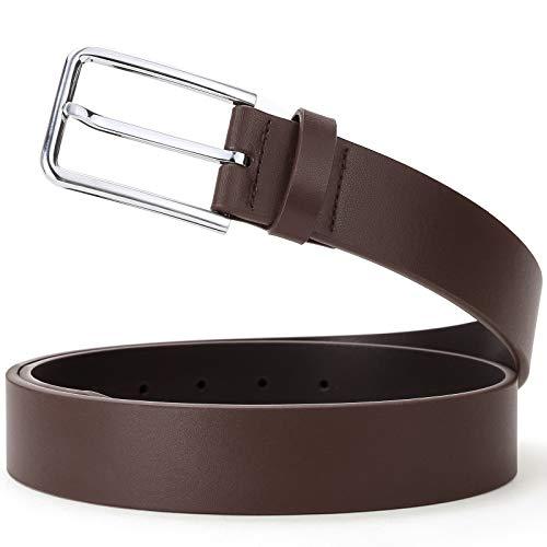 SOPONDER 42 Waist Belts for Men Brown Leather Belts with Sliver Pin Belt Buckles (42(waist 39&40), Silver buckle/Brown belt) ()