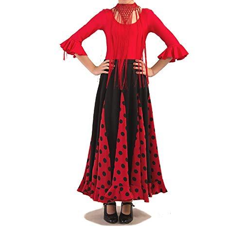 d16370b7 ANUKA Conjunto de niña para Flamenco o sevillanas, Maillot y Falda. (Talla 4