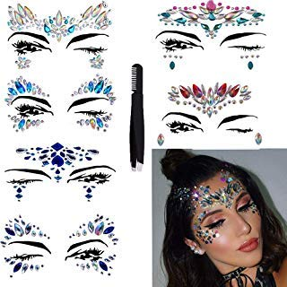 Mardi Gras Makeup Ideas - Face Jewels Glitter Temporary Tattoo With