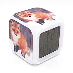 Boyan New Red Fox Animal Snow Led Alarm Clock Creative Desk Table Clock Multipurpose Calendar Snooze Glowing Led Digital Alarm Clock for Unisex Adults Kids Toy Gift