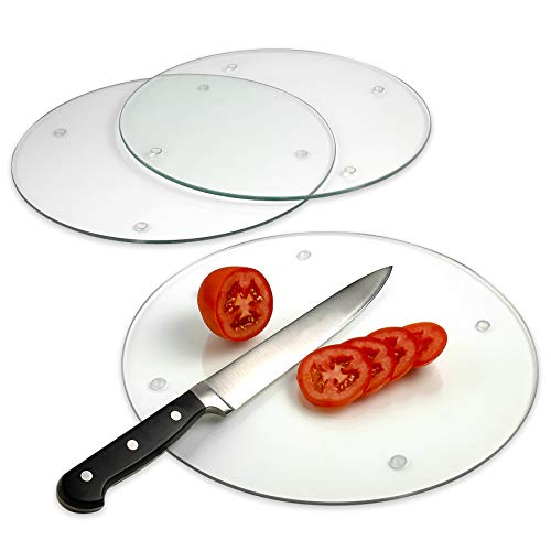 Tempered Glass Cutting Board - Long Lasting Clear Glass - Scratch Resistant, Heat Resistant, Shatter Resistant, Dishwasher Safe. (3 Round 12