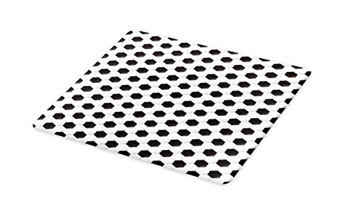 Lunarable Sports Cutting Board, Soccer Ball Vivid Pattern Athletic Sport Themed Geometrical Modern Artistic Design, Decorative Tempered Glass Cutting and Serving Board, Small Size, Grey White by Lunarable