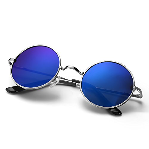Menton Ezil Unique Blue Mirrored Color Lenes John Sunglasses Polarized for Men Women Glass Driving Outdoor - Circle Sunglasses Blue