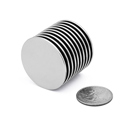 Powerful Neodymium Disc Magnets (10 Pack) Strong N45 Rare-Earth Metal Multi-Use for Fridge, DIY, Building, Scientific, Craft, and Office Magnets
