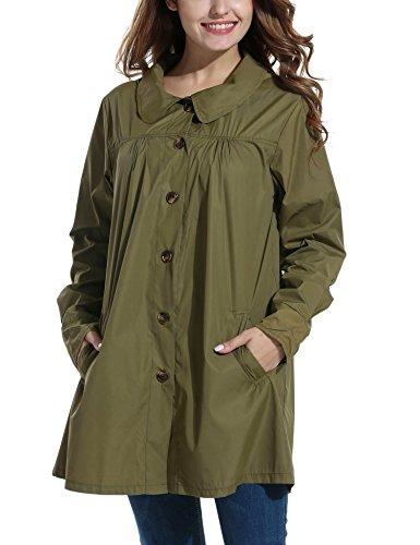 Beyove Women Long Sleeve Lightweight Waterproof Outdoor Raincoat W/Hooded Army Green (New Military Coat)