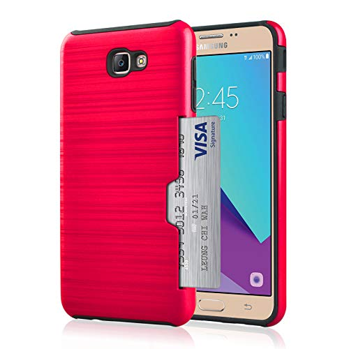 Price comparison product image Case for Samsung Galaxy J7 Prime Wallet Case Anti-Scratch Cover with Credit Card Slot Holder (Rose Red)