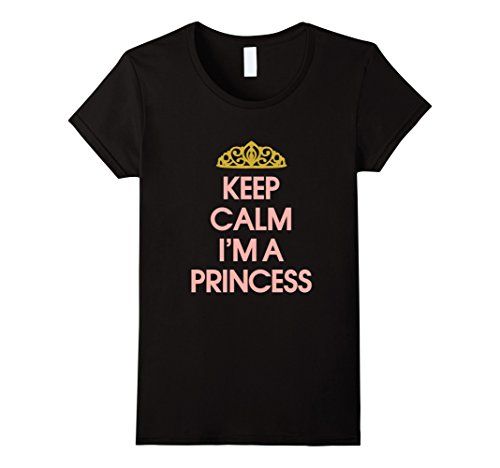 Hipster Princess Halloween Costume (Womens Little Princess, Funny Keep Calm I'm a Princess T-Shirts Small Black)