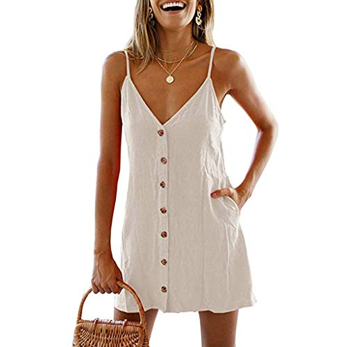 Yellsong Mini Dress,Womens Fashion V Neck Sleevele Button Pockets Pure Color Loose Summer ()
