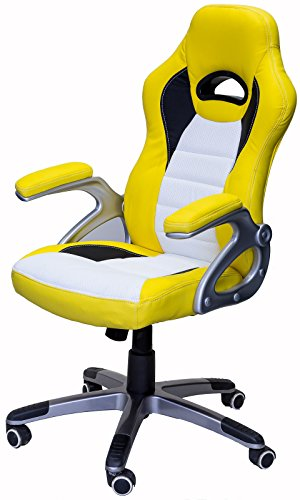 41yZZJIhukL - ViscoLogic-Series-Gaming-Racing-Style-Swivel-Office-Chair-YELLOWWHITE-YF-2741-YW
