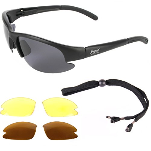 Rapid Eyewear Mens Polarized Fly Fishing Sunglasses With Interchangeable Anti Glare Lenses. UV400 Protection. Also for Carp, Salmon and Coarse - Fishing Glasses Sun Fly