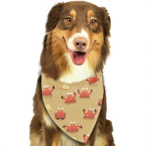 Rongx Classic Pet Dog Bandanas Cartoon Crabs Washable Triangle Plaid Adjustable Dog Scarf Bow Tiess
