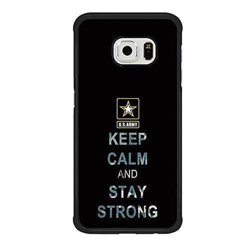Skinsends Funny US Army Quote Case Cover Compatible with Galaxy S6 Edge, Keep Calm and Stay Strong Cell Phone CASE Cover Compatible with Samsung Galaxy S6 Edge]()
