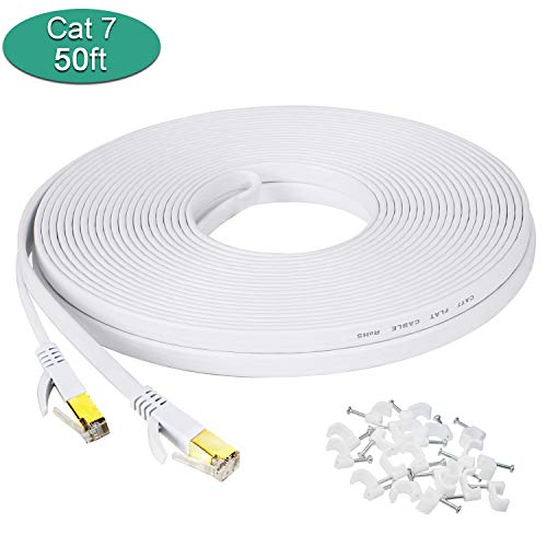 Cat7 Ethernet Cable, 50 Ft Network Cable, Slim High Speed Wire Internet Cable with Clips, Faster Than Cat6 Cat5,Computer LAN Cord with Shielded RJ45 Plugs for MAC Pro, TV, PS4,Laptop-White 15M