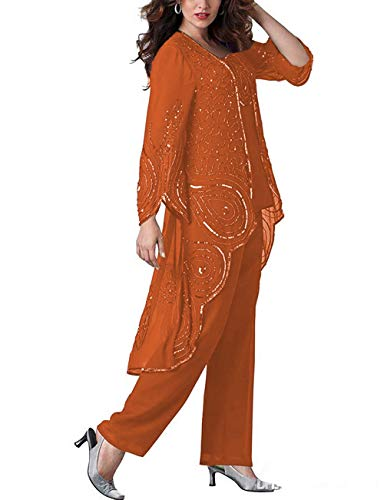 Vincent Bridal Women's 3 Pieces Pants Suit Formal Chiffon Beaded Mother of The Bride Dresses with Jacket(US2,Orange) (Beaded 3 Piece Pant)