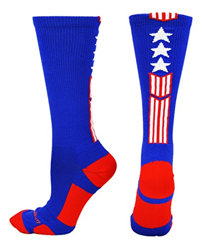 MadSportsStuff Patriot Stars and Stripes Team USA American Flag Crew Socks (Royal/Red/White, Medium)