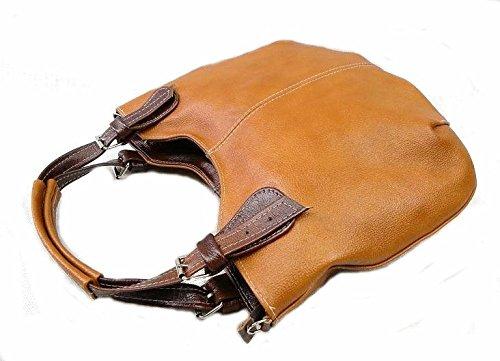 ADA'MIAK® Natürliches Leder Damen Umhängetasche Zweikammer ARTDUAL A4 (Camel)