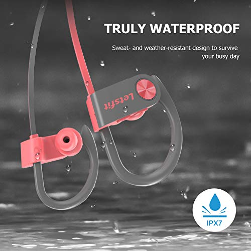 Bluetooth Headphones, Letsfit Wireless Headphones, IPX7 Waterproof Sports Earphones Gym Running, HD Stereo Headset w/Mic, 8 Hours Battery Noise Cancelling Bluetooth Earbuds by Letsfit (Image #2)