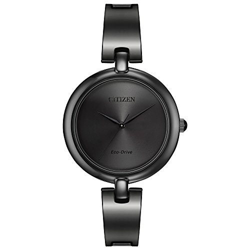 Citizen Eco-Drive Silhouette Bangle Three-Hand Stainless Steel – Black Women's watch #EM0225-84E