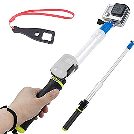 First2savvv amarillo Transparente Material del flotador extensión flotante Extensible selfie Polo Monopod con el clip de ...