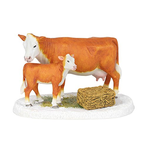 Figurine Mistletoe - Department 56 Village Collections Mistletoe Farm Cow and Calf Accessory Figurine, Multicolor