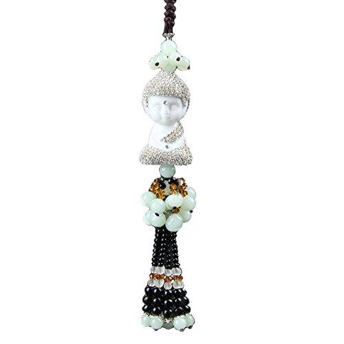 White Jade Beads Bodhi Car Hanging Handmade Diamonds Buddha Decor Tassel Pendant - Jade Silver Mirror