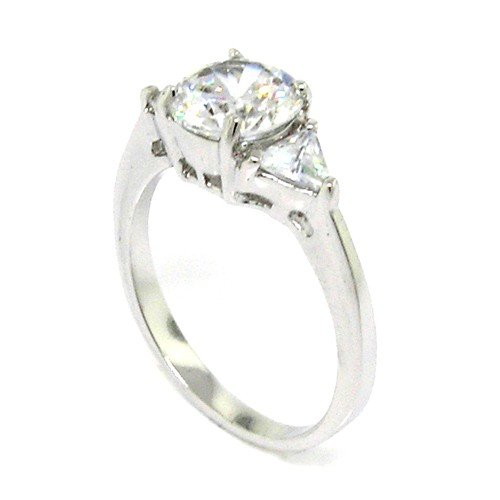 Classic Engagement Ring w/Round & Trilliant White CZs Size 9