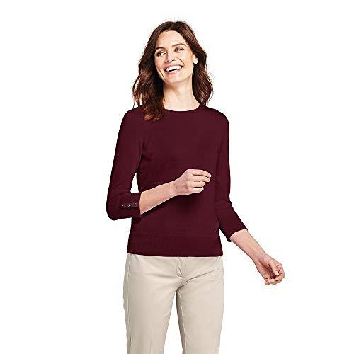(Lands' End Women's Tall Supima Cotton 3/4 Sleeve Sweater, M, Deep)