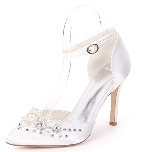 Bridesmaids Chunky Alta White Closed De 9 Eleoulck Evening 5cm Zapatos Plataforma Nupcial Low Heel Boda Toe Mujer fqgXIwX